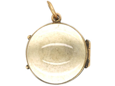 Victorian 9ct Gold & Rock Crystal Round Locket