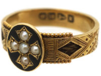 Victorian 18ct Gold Mourning Ring with Natural Split Pearl Cross