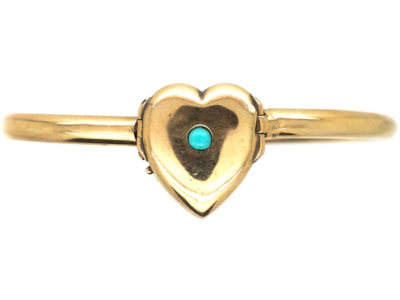 Edwardian 9ct Gold Bangle with Triple Opening Heart Locket