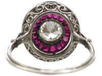 Art Deco Platinum, Ruby & Diamond Oval Target Ring