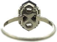 Art Deco 14ct White Gold, Onyx & Diamond Geometric Ring