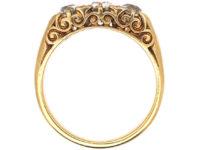 Victorian 18ct Gold, Three Stone Carved Half Hoop Diamond Ring