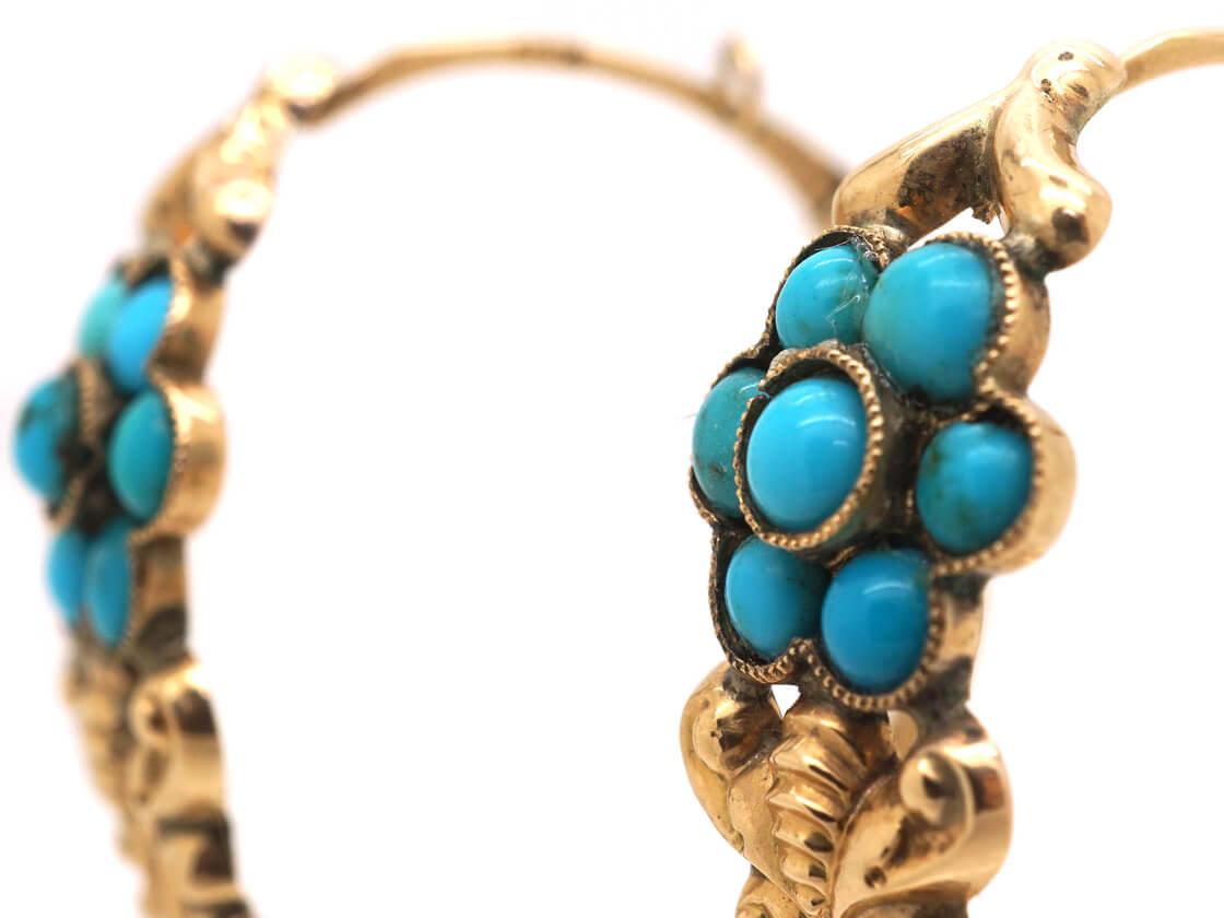 Georgian Gold & Turquoise Poissarde Earrings
