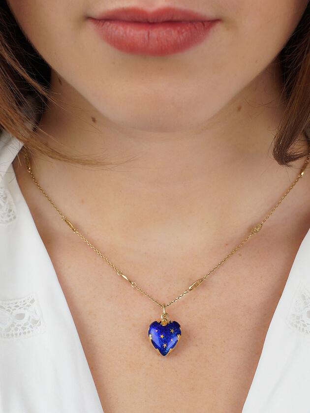 18ct Gold & Blue Enamel Heart Shaped Pendant by Fabergé