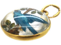 Edwardian 18ct Gold Reverse Intaglio Rock Crystal Pendant of a Bluebird