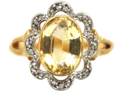 Edwardian 18ct Gold, Topaz & Diamond Cluster Ring