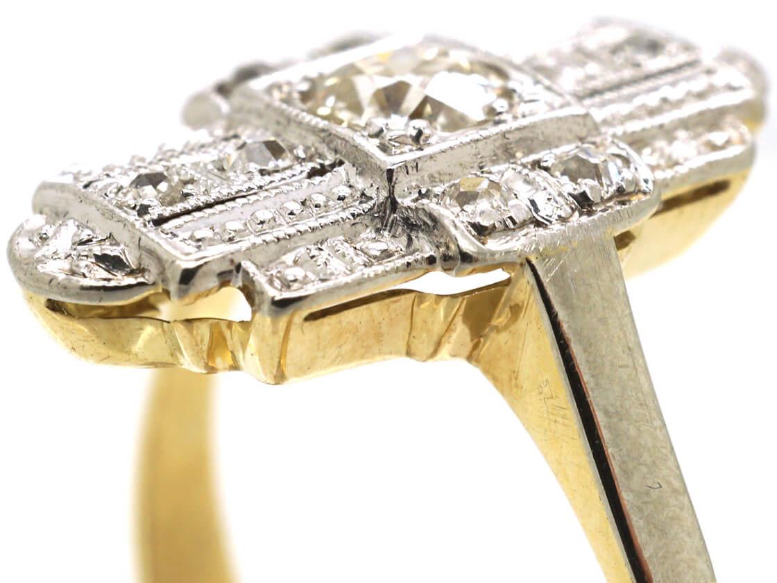 Art Deco 18ct White & Yellow Gold & Diamond Geometric Ring