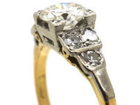 Art Deco 18ct White Gold & Platinum Diamond Solitaire Ring with Step Cut Shoulders set with Diamonds