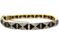 Art Deco 18ct Gold & Platinum Onyx & Diamond Bracelet