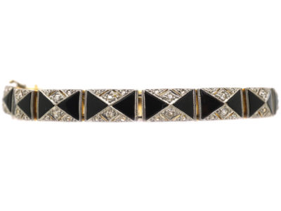 Art Deco 18ct Gold & Platinum Onyx & Diamond Bracelet