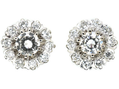 18ct White & Yellow Gold Diamond Cluster Earrings