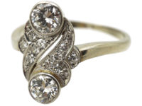 Art Deco 18ct White Gold Two Stone Diamond Ring with Diamond Set Leaf Design