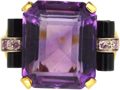 Art Deco 14ct Gold, Amethyst, Onyx & Diamond Ring