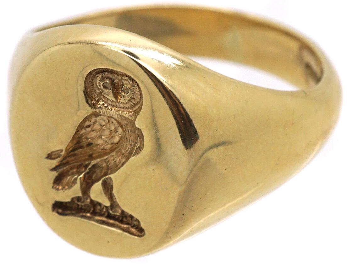 9ct Gold Signet Ring with an Owl Intaglio