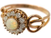 Art Nouveau 9ct Gold, Opal & Diamond Cluster Ring