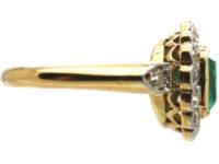 Edwardian 18ct Gold & Platinum, Square Cut Emerald & Diamond Cluster Ring