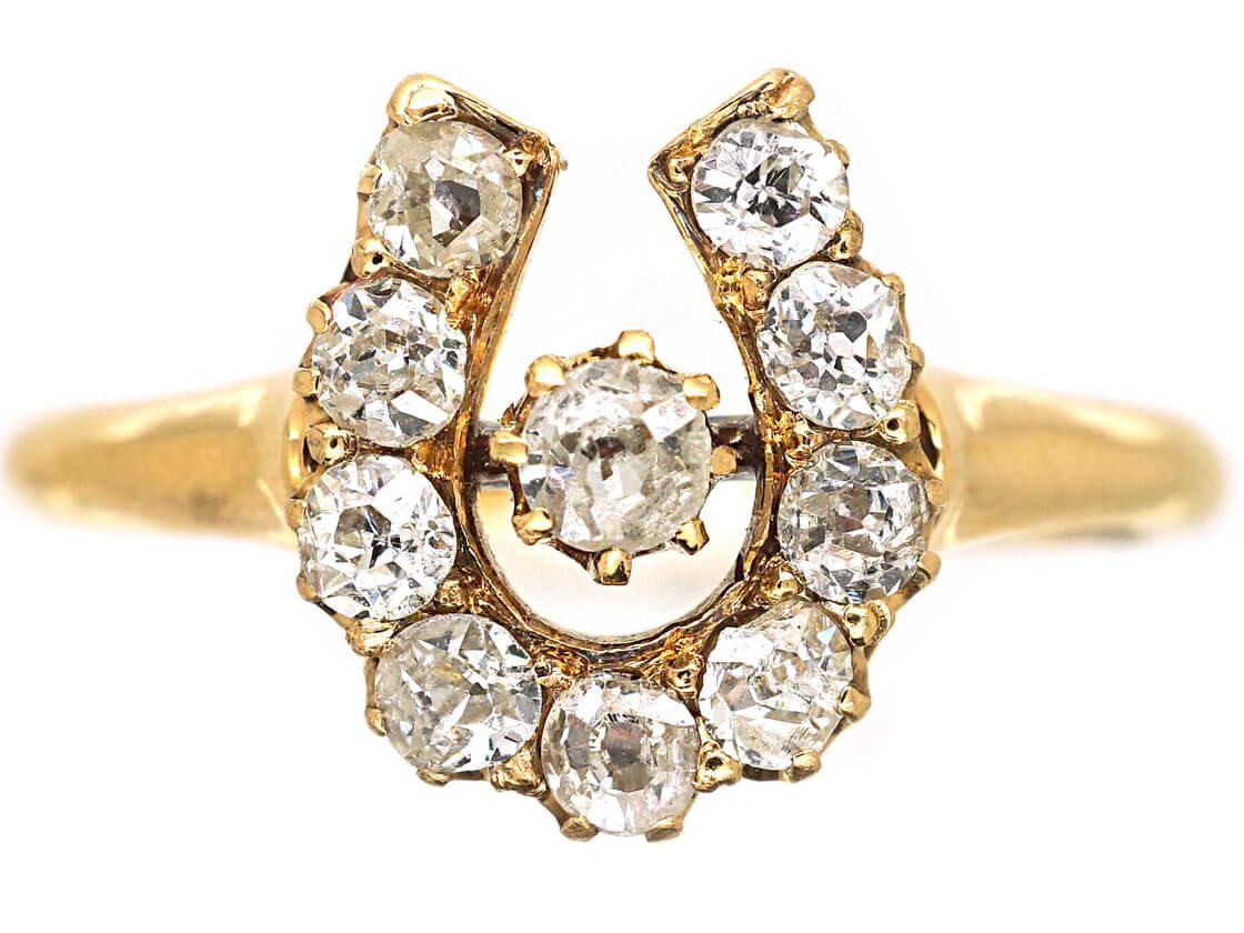 Victorian 18ct Gold & Diamond Horseshoe Ring