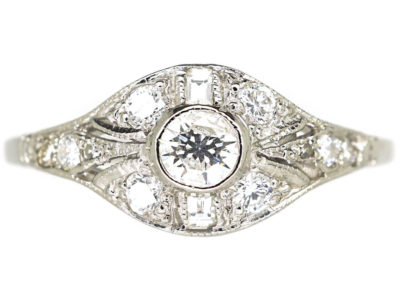 Art Deco Platinum & Diamond Cluster Ring