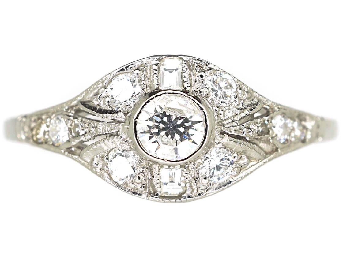 Art Deco Platinum & Diamond Cluster Ring