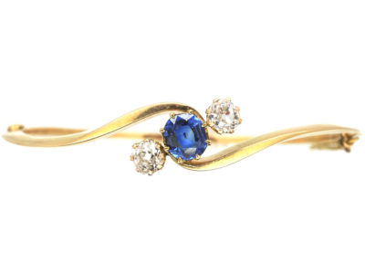 Edwardian 15ct Gold Bangle set with a Ceylon Sapphire & Diamonds