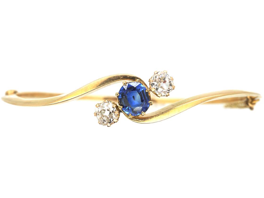 Edwardian 15ct Gold Bangle set with a Ceylon Sapphire & Diamonds