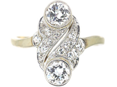 Art Deco 18ct White Gold Two Stone Diamond Ring with Diamond Set Leaf Design