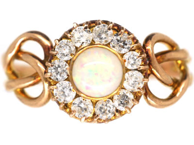 Art Nouveau 9ct Gold, Opal & Diamond Cluster Ring