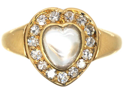 Edwardian 18ct Gold Moonstone & Diamond Heart Shaped Ring by Henry Barnett Joseph