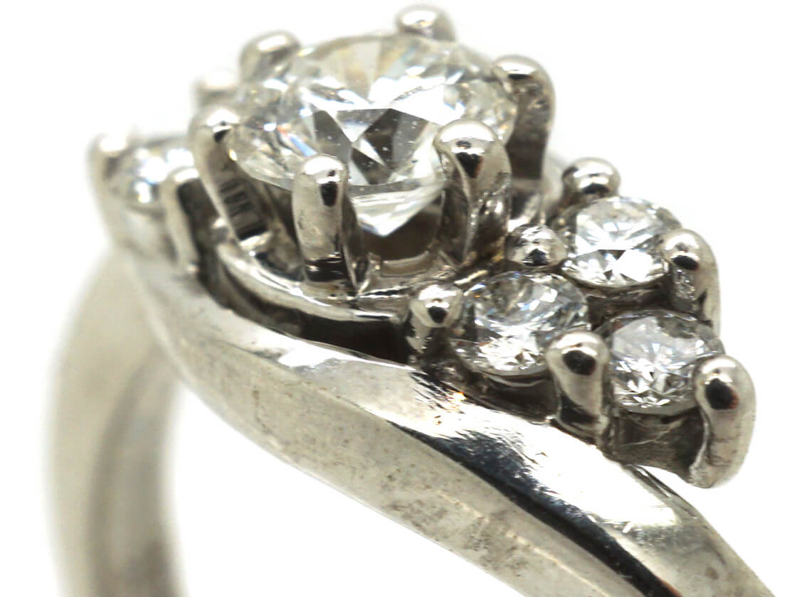 Diamond Single Stone Diamond Ring with Diamonds on Either Side
