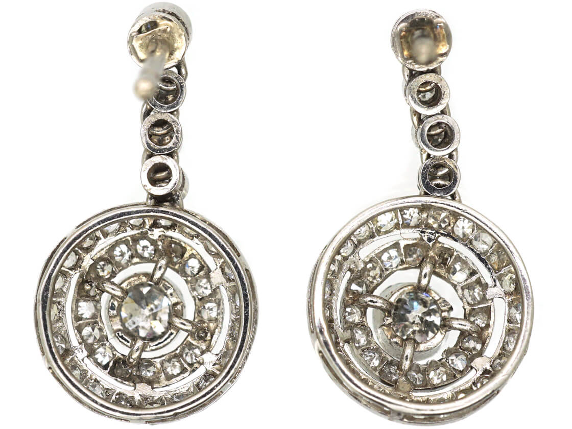 French 18ct Gold & Platinum Diamond Set Drop Cluster Earrings