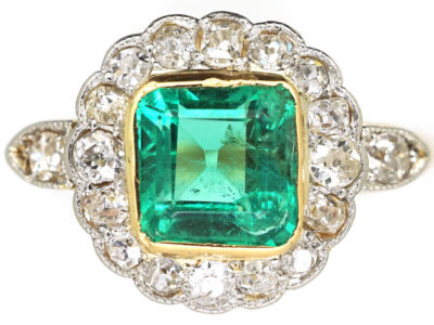 eba124f53 Edwardian 18ct Gold & Platinum, Square Cut Emerald & Diamond Cluster Ring