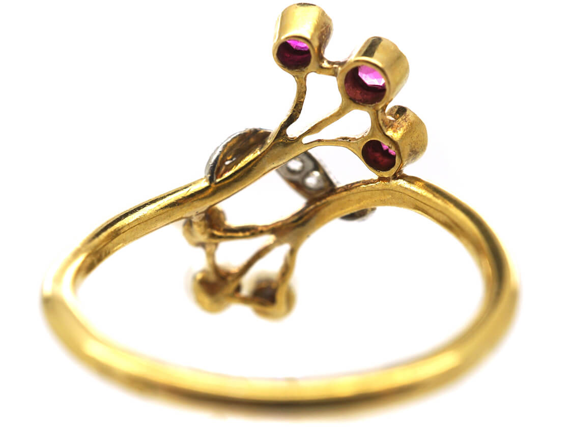French Art Nouveau 18ct Gold, Ruby, Rose Diamond & Natural Pearl Ring