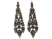Portuguese 18th Century Silver, Gold & Rose Diamond Acorn Drop Earrings