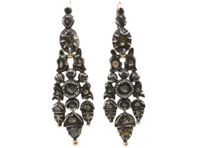 Portuguese 18th Century Silver, Gold & Rose Diamond Acorn Drop Earrings