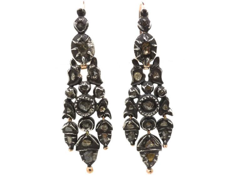 1fd8649e115e0 Georgian Silver, Gold & Rose Diamond Acorn Drop Earrings - The Antique  Jewellery Company