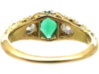Victorian 18ct Gold Emerald & Diamond Three Stone Carved Half Hoop Ring