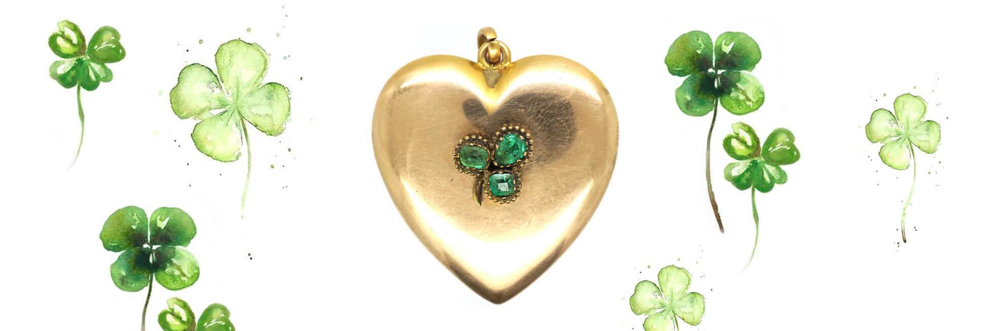 Large Edwardian 10ct Gold Heart Shaped Locket set with Three Emeralds
