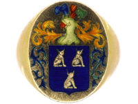 Large 18ct Gold & Enamel Signet Ring with Crest