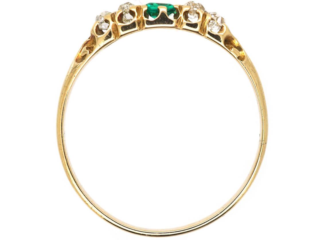 Victorian 18ct Emerald & Diamond Five Stone Ring