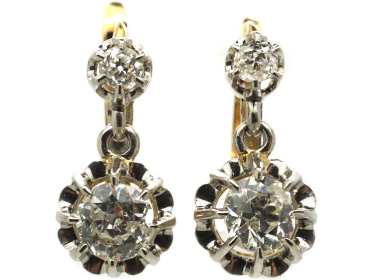 d6f92085337a67 French Belle Epoque 18ct White & Yellow Gold Diamond Drop Earrings ...