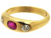 Edwardian 18ct Gold, Ruby & Diamond Rub Over Set Ring