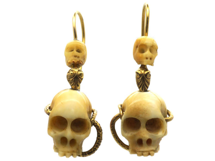 Victorian Bone Skull & Gold Snake Earrings - The Antique Jewellery Company