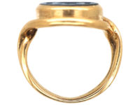 Victorian 18ct Gold Signet Ring with Onyx Intaglio of a Crest