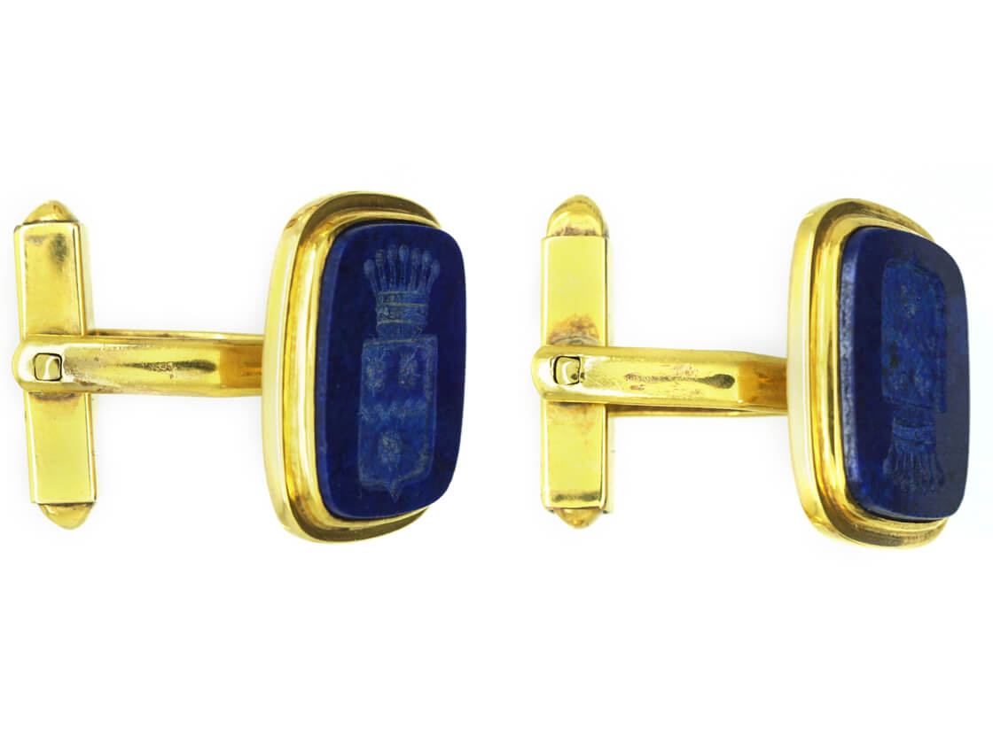 French 18ct Gold & Lapis Lazuli Cufflinks with Intaglio of a Marquis Crest
