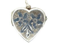 Silver Heart Locket with Engraved Flowers