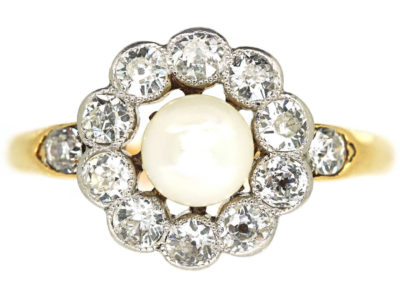 Edwardian 18ct Gold & Platinum , Natural Pearl & Diamond Cluster Ring