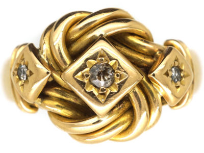 18ct Gold Lover's Knot Ring set with Diamonds