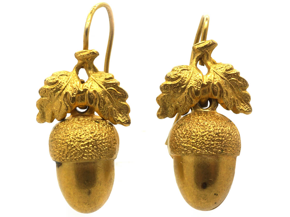 Victorian 15ct Gold Acorn Earrings