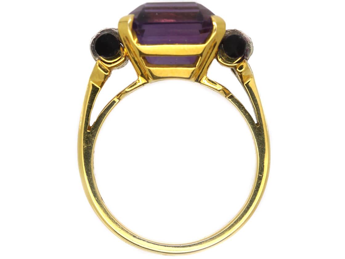 Art Deco 14ct Gold, Amethyst, Onyx & Diamond Ring