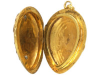French 19th Century 18ct Gold Locket with Royal Blue Enamel & Rose Diamond Leaf Motif